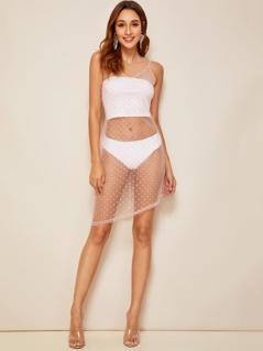 Asymmetrical Hem Swiss Dot Sheer Mesh Slip Dress