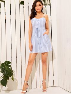 Lace Up Pocket Front Striped Slip Dress