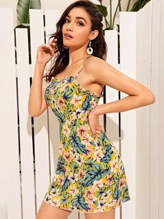 Tropical Print Frill Trim Slip Sundress
