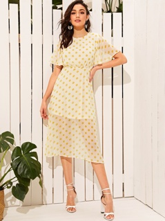 Polka-dot Print Flutter Sleeve Dress