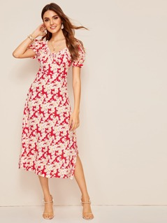 Puff Sleeve Split Side Floral Tea Dress