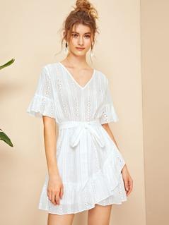 Bell Sleeve Ruffle Hem Belted Schiffy Dress