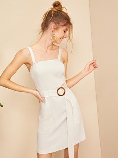 Ring Belted Pocket Patch Slip Dress