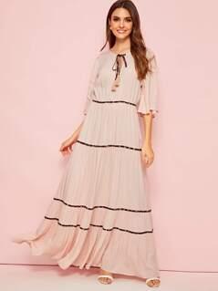 Tassel Tie Neck Floral Tape Detail Crepe Maxi Dress