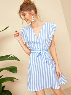 Ruffle Armhole Surplice Neck Striped Belted Dress