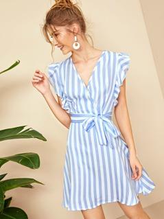 Ruffle Armhole Surplice Neck Striped Belted Dress