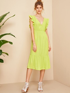 Neon Lime Knot Backless Ruffle Cuff & Hem Dress
