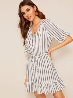 Button Front Drawstring Waist Ruffle Hem Striped Dress