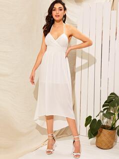 Lace Wrap Bodice Tasseled Halterneck High Low Dress