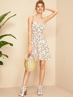 Tie Strap Ditsy Floral Print Shirred Back Sundress