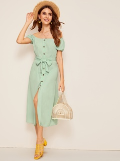 Button Front Off Shoulder Belted Dress