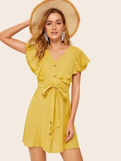 Button Front Ruffle Detail Belted Dress