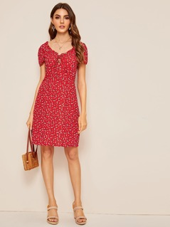 Frill Lace Up Front Ditsy Floral Fitted Dress