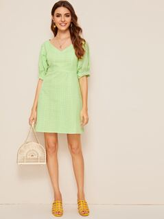 Zip Back Double V Neck Gingham Dress