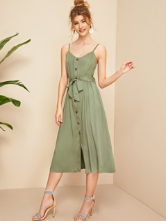Self Belted Button Up Tea Cami Dress