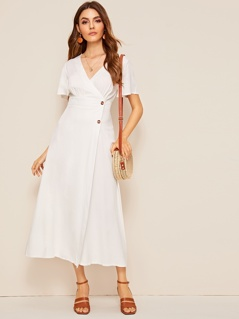 Wide Waistband Surplice Wrap Buttoned Dress