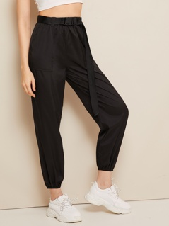 Buckle Belted Pocket Patch Crop Wind Pants