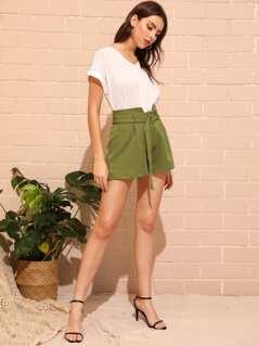 High Waist Belted Wide Leg Shorts
