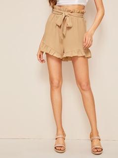 Paperbag Waist Ruffle Trim Belted Shorts