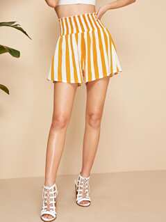 Shirred Wide Waistband Striped Shorts