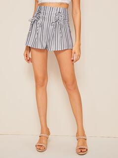 High Waist Lace Up Striped Shorts
