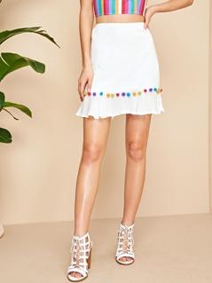 Pom Pom Detail Ruffle Hem Skirt