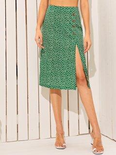 Ditsy Floral Print Slit Hem Button Front Skirt