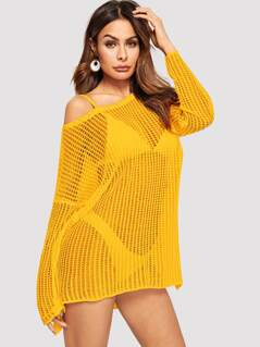 Drop Shoulder Crochet Sweater Without Bra