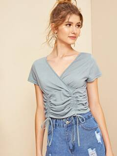 Drawstring Ruched Front Wrap Crop Top