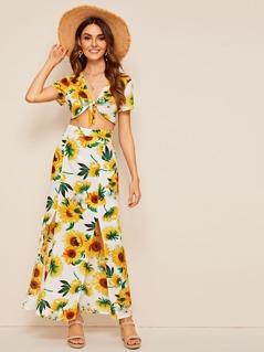Sunflower Knotted Top & M-slit Hem Skirt Set