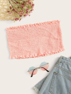 Frill Detail Shirred Bandeau Top