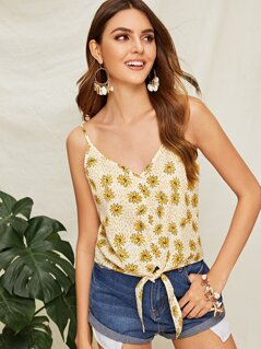 Flower & Dot Print Knotted Hem Cami Top