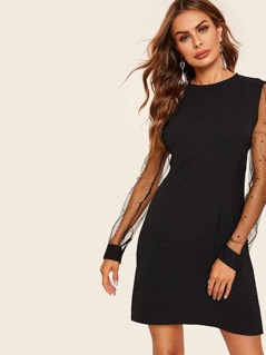 Dot Mesh Sleeve Fitted Dress