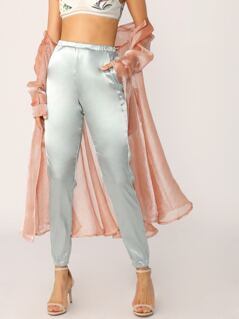 Elastic Waist Side Pockets Satin Jogger Pants