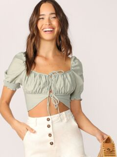 Ruched Tie Front Puff Short Sleeve Crop Top