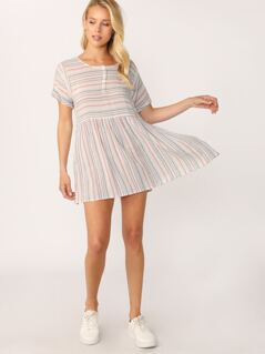 Shirred Waist Short Sleeve Stripe Dress