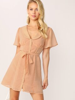 V-Neck Peter Pan Collar Button Front Gingham Dress