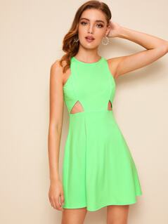 Neon Lime Cut Out Front Tank Dress