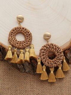 Basket Woven Round Tassel Accent Dangling Earrings