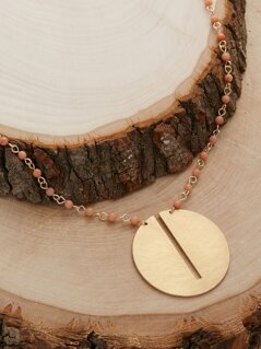 Wooden Pearl Oversized Round Pendant Necklace