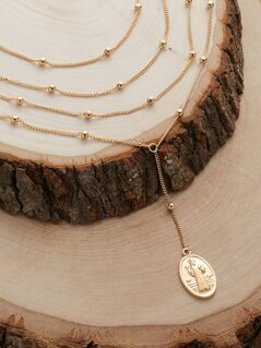 Layered Chain Bead Detail Rosary Lariat Necklace