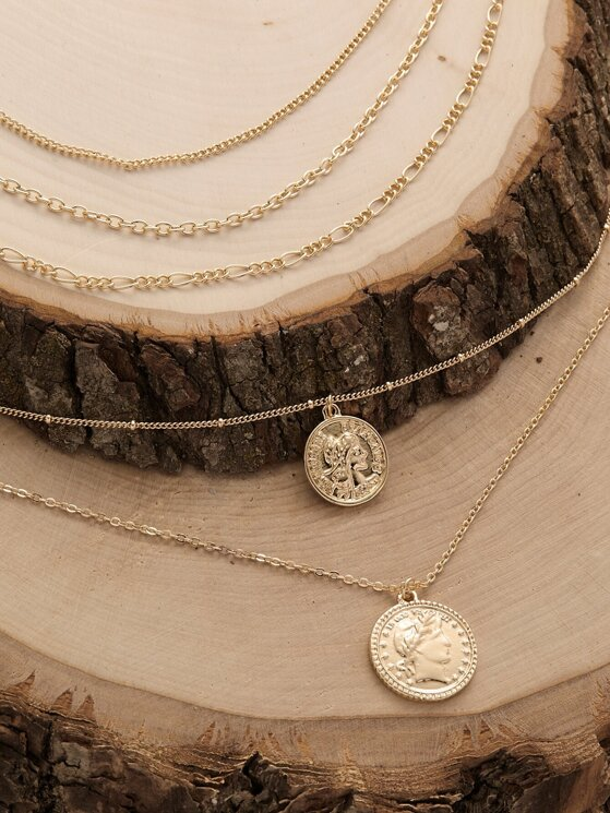 Set Of Three Chain Link Coin Pendant Necklace
