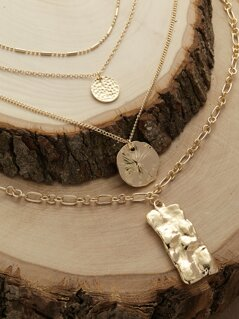 Layered Dainty Chain Hammered Pendant Necklace