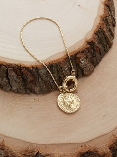 Oversized Spring Clasp Coin Charm Bracelet