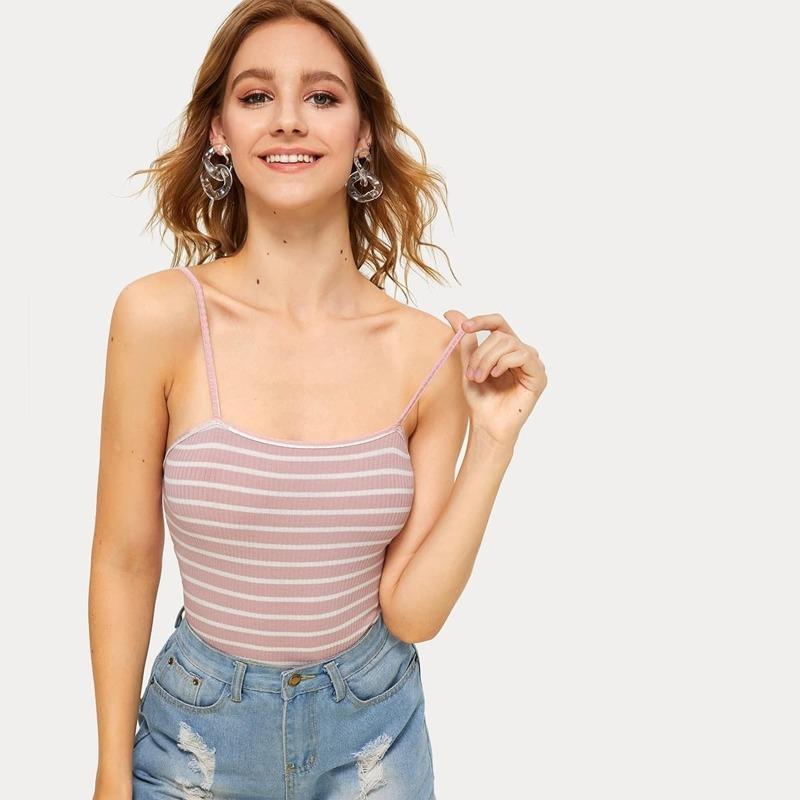 Striped Rib-knit Skinny Cami Bodysuit, Pink