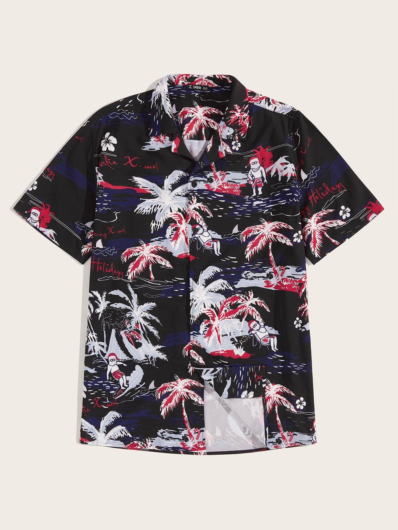 Фото - Мужская рубашка с оригинальным принтом и разрезом на воротнике от SheIn цвет многоцветный