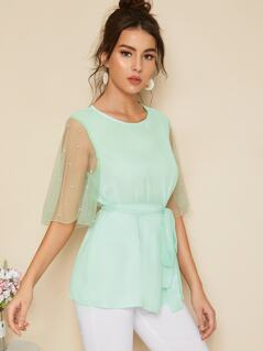 Pearls Beaded Mesh Flutter Sleeve Belted Top