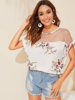 Mesh Yoke Cuffed Sleeve Floral Top