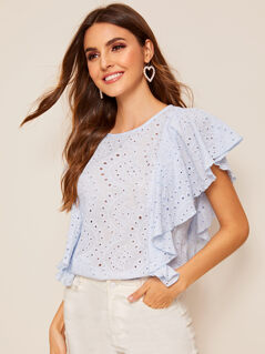 Zip Back Ruffle Trim Schiffy Top
