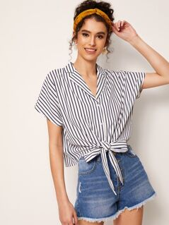 Notch Neck Striped Knotted Hem Blouse